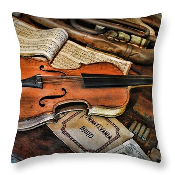Music - The Violin Throw Pillow by Paul Ward