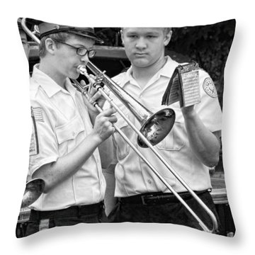 Music - Trombone - A Helping Hand  Throw Pillow by Mike Savad