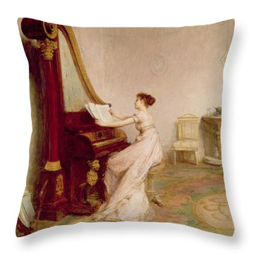 Music When Soft Voices Die, Vibrates Throw Pillow by Sir William Quiller Orchardson
