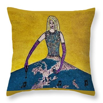 Music World By Jasna Gopic Throw Pillow by Jasna Gopic