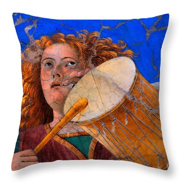 Musical Angel Basking In The Light Of Heaven Throw Pillow