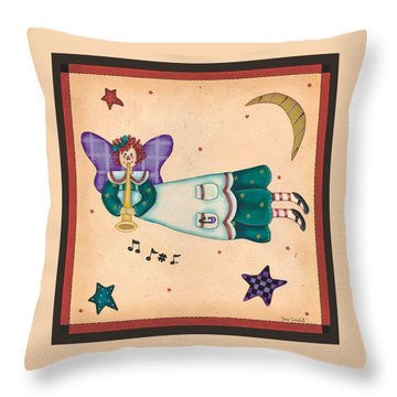 Musical Angel Throw Pillow by Tracy Campbell