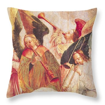 Musical Angels, Detail From The Assumption Of The Virgin Throw Pillow