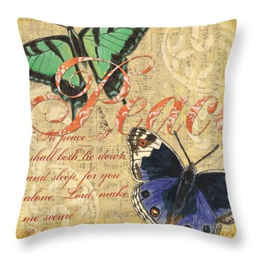 Musical Butterflies 2 Throw Pillow by Debbie DeWitt