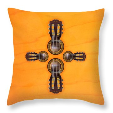 Musical Cross Throw Pillow by Doron Mafdoos