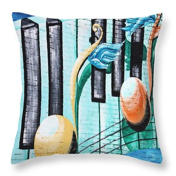 Musical Notes In Deep Ellum Throw Pillow by Lorri Crossno