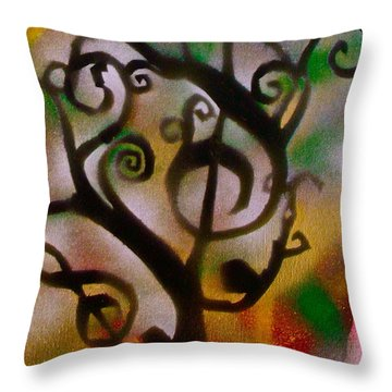Musical Tree Golden Throw Pillow by Tony B Conscious