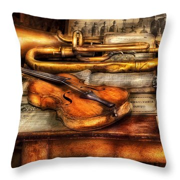 Musician - Horn - Two Horns And A Violin Throw Pillow by Mike Savad