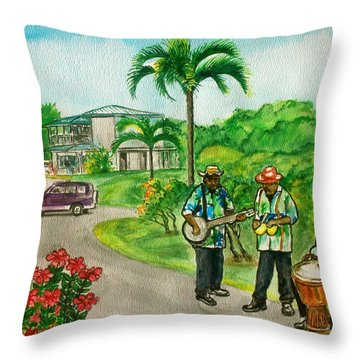 Musicians On Island Of Grenada Throw Pillow