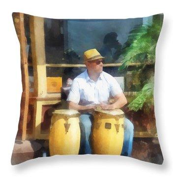 Musicians - Playing Bongo Drums Throw Pillow by Susan Savad