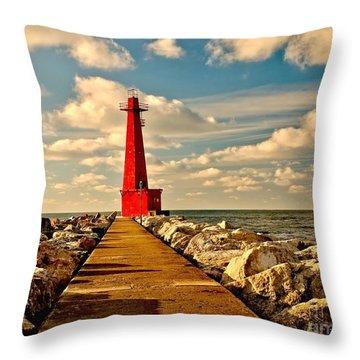 Muskegon South Pier Light Throw Pillow