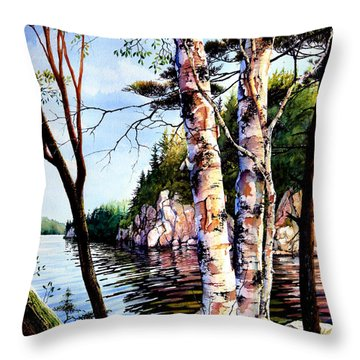 Muskoka Reflections Throw Pillow by Hanne Lore Koehler