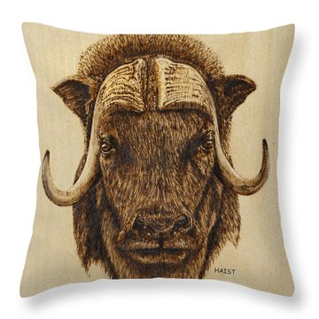 Muskox Throw Pillow by Ron Haist
