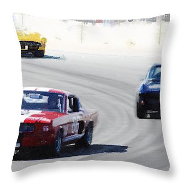 Mustang And Corvette Racing Watercolor Throw Pillow