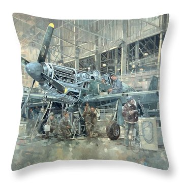 Mustang At Warton Throw Pillow by Peter Miller