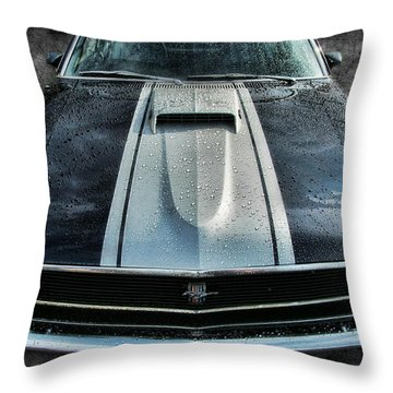 Throw Pillow featuring the photograph Mustang Hood by Victor Montgomery