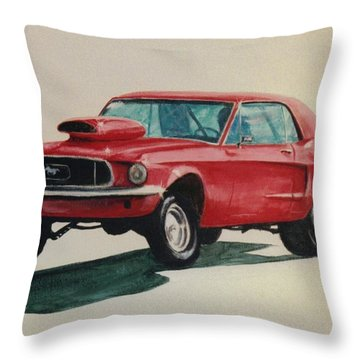 Mustang Launch Throw Pillow by Stacy C Bottoms
