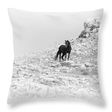 Mustang On Hill 2 Bw Throw Pillow