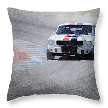 Mustang On Race Track Watercolor Throw Pillow