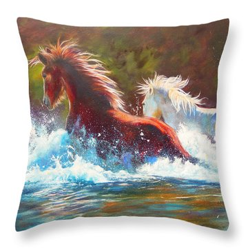 Throw Pillow featuring the painting Mustang Splash by Karen Kennedy Chatham
