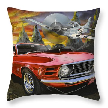 Mustangs 3 Throw Pillow