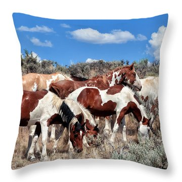 Red Dun Horse Throw Pillows