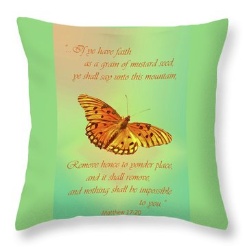Mustard Seed Faith Throw Pillow by Larry Bishop