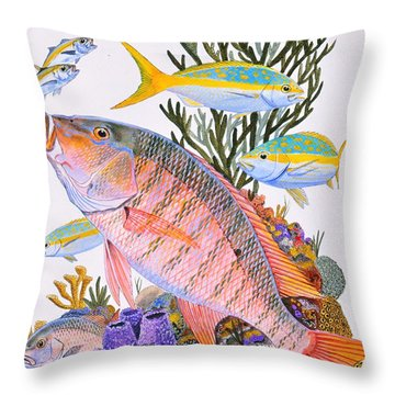 Mutton Snapper Reef Throw Pillow