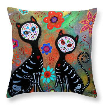 My 2 Cats Dia De Los Muertos Throw Pillow