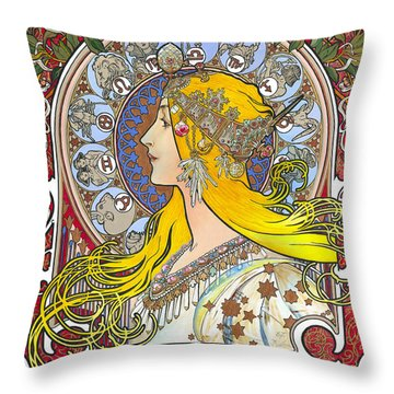 My Acrylic Painting As An Interpretation Of The Famous Artwork Of Alphonse Mucha - Zodiac - Throw Pillow
