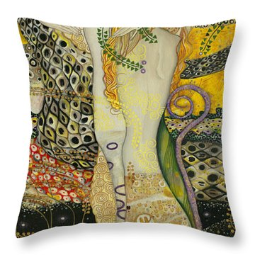 My Acrylic Painting As An Interpretation Of The Famous Artwork Of Gustav Klimt - Water Serpents I Throw Pillow by Elena Yakubovich