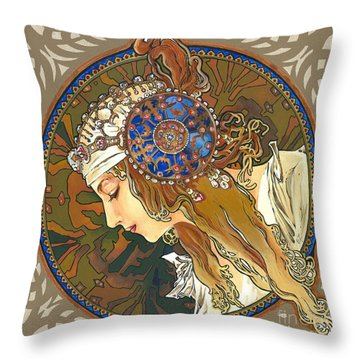 My Acrylic Painting As Interpretation Of Alphonse Mucha- Byzantine Head. The Blonde. Diagonal Frame. Throw Pillow
