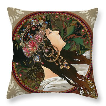 My Acrylic Painting As Interpretation Of Alphonse Mucha - Byzantine Head The Brunette Diagonal Frame Throw Pillow