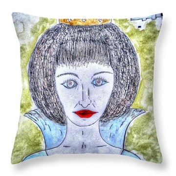Throw Pillow featuring the drawing my angry Princess by Yury Bashkin