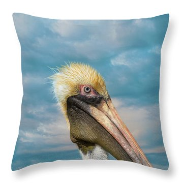My Better Side - Florida Brown Pelican Throw Pillow