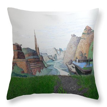 Throw Pillow featuring the painting My Bigger Back Yard by A  Robert Malcom