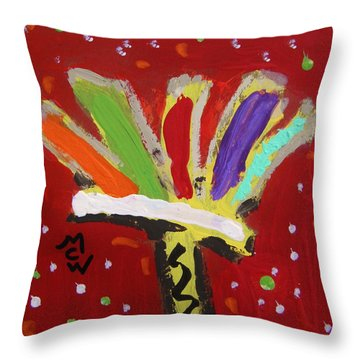 My Colorful Brush Throw Pillow by Mary Carol Williams