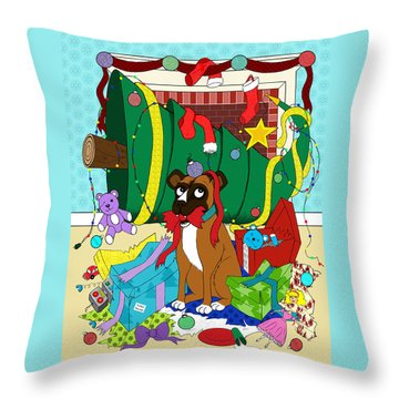 My Dog Ate Christmas Throw Pillow by Shawna Rowe