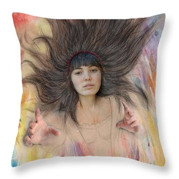 My Drawing Of A Beauty Coming Alive II Throw Pillow