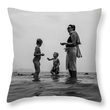 My Family In Thailand Throw Pillow