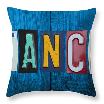 My Fancave License Plate Letter Vintage Phrase Artwork On Blue Wood Throw Pillow by Design Turnpike