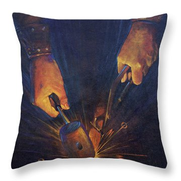My Fathers Hands Throw Pillow by Rob Corsetti