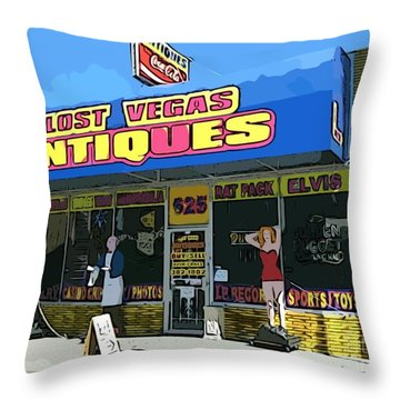 My Favorite Vegas Antique Store Throw Pillow by John Malone