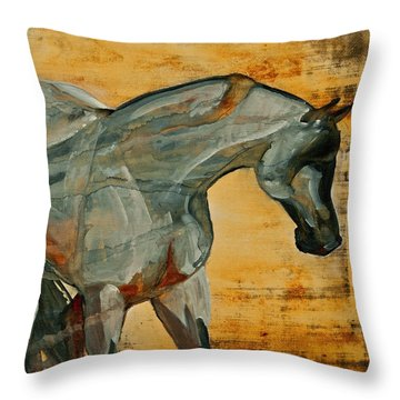 Throw Pillow featuring the painting My Final Notice  by Jani Freimann
