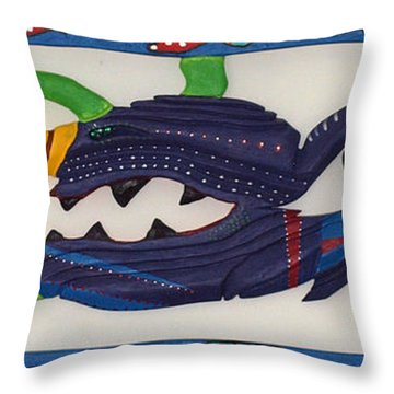 Throw Pillow featuring the sculpture My First Fish Dinner by Robert Margetts