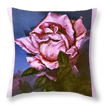 Throw Pillow featuring the painting My First Rose by Lynne Wright