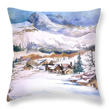 My First Snow Scene Throw Pillow