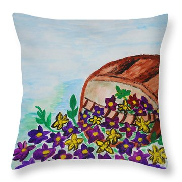 Throw Pillow featuring the painting My Flower Basket by Ramona Matei