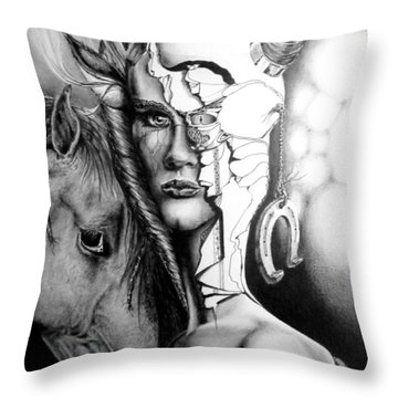 Throw Pillow featuring the drawing My Friend by Geni Gorani