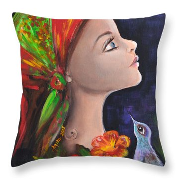 Throw Pillow featuring the painting My Gipsy Soul by Agata Lindquist